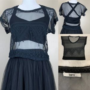 Bar III Top Sheer Lace Crop Top Party On